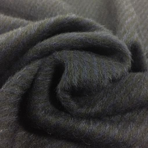 Ткань пальтовая с альпакой Bottega Veneta сине-черная диагональ