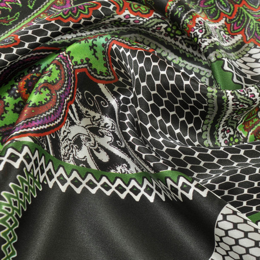 Шелк атлас Haute Couture зеленый турецкий огурец