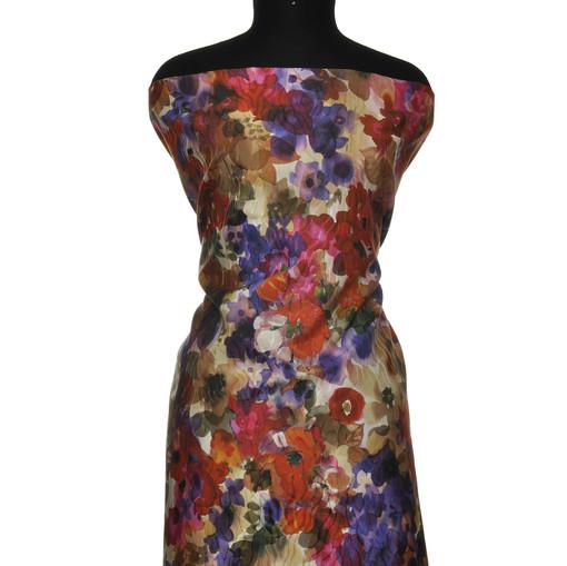 Плотный шелк с крупным цветочным рисунком