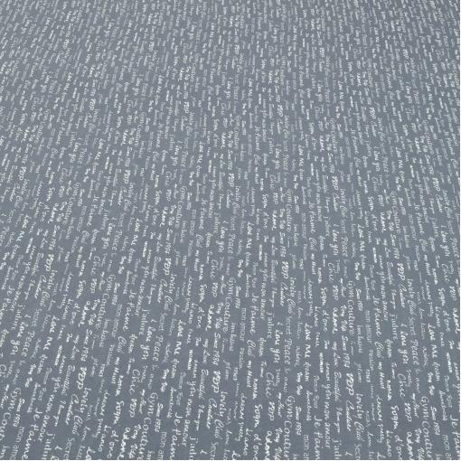 Шелк крепдешин серого цвета с надписями