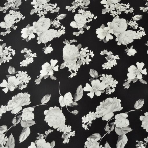 Шелк стрейч черный с бело-серыми цветами