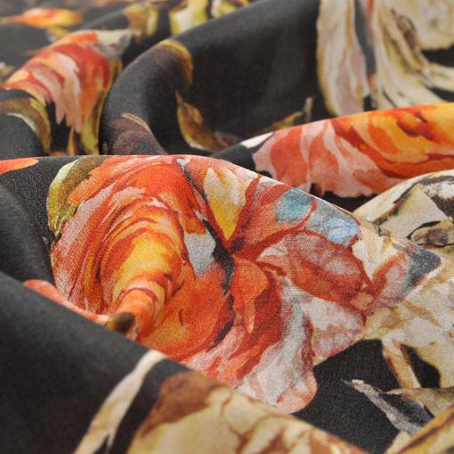 Шелк крепдешин с цветочным принтом