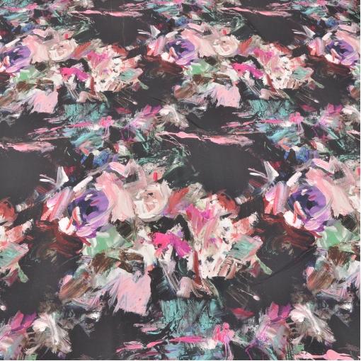 Шелк с принтом в виде цветов нарисованных мазками