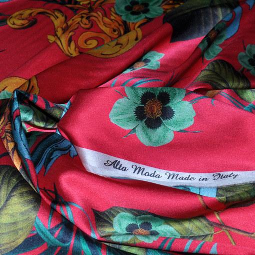 Шёлк стрейч Alta Moda атласный принт цветы на розовом
