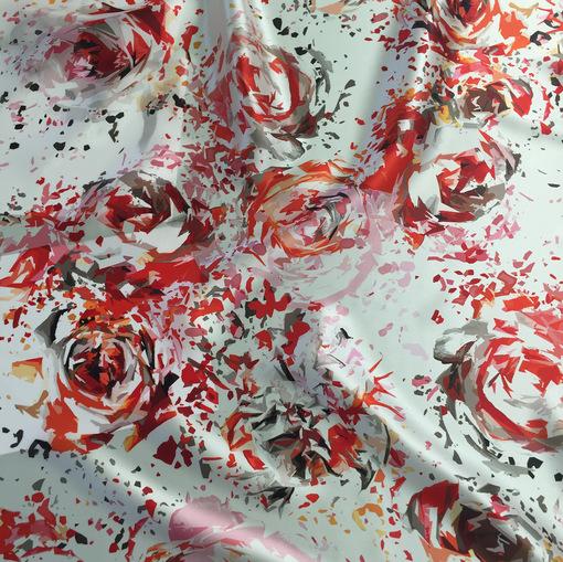 Шелк атлас принт Valentino стилизованные красные розы
