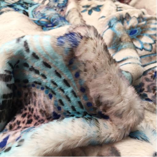 Мех искусственный средневорсовый ETRO леопард и огурцы в голубой гамме