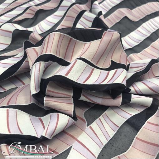 Шелк с вискозой деворе дизайн Armani серо-розовые полосы