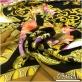Шелк креповый принт Versace платок 140х140 вензеля и розы