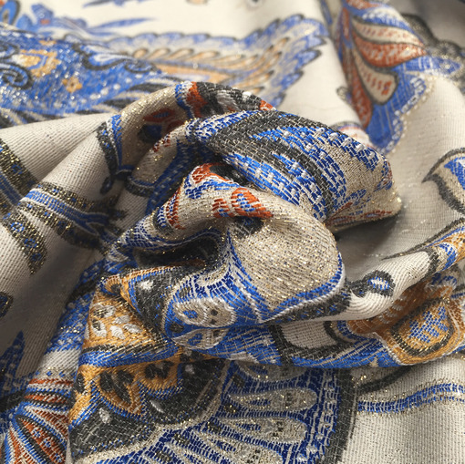 Жаккард принт Gucci узоры в бежево-голубых тонах