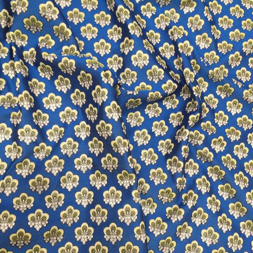 Жаккард принт Gucci цветочные узоры на ярко-голубом фоне