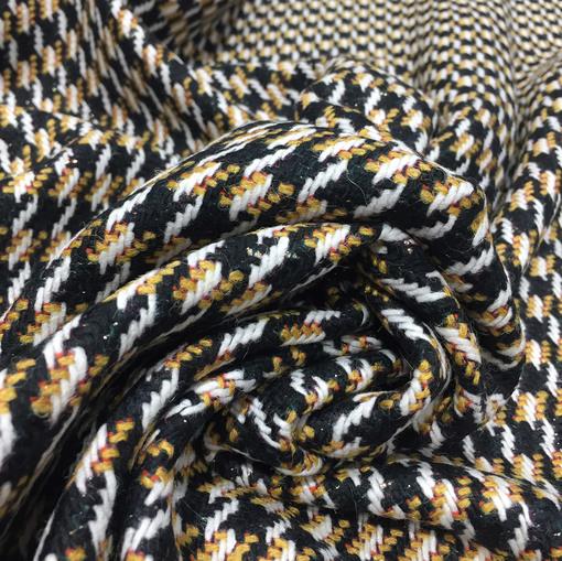 Ткань пальтовая Chanel черно-горчичный орнамент с люрексом