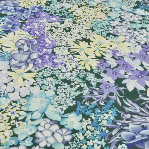 Шелк крепдешин Missoni цветы на зеленом фоне