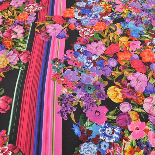 Шелк-креп купонный с цветочным принтом