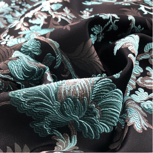 Жаккард нарядный дизайн D&G цветочный узор ярко-голубого цвета