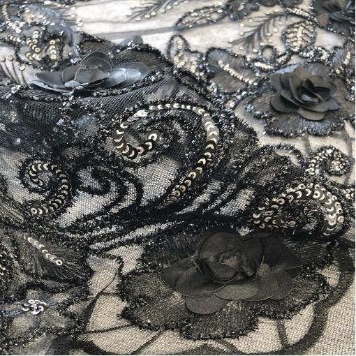 Кружево нарядное D&G на сетке вышивка цветами и пайетками