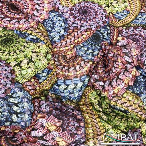 Шёлк крепдешин полупрозрачный принт Missoni абстрактные разноцветные спирали