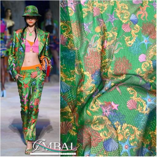 Шелк шифон стрейч дизайн Versace морская тема с люрексом в зеленой гамме