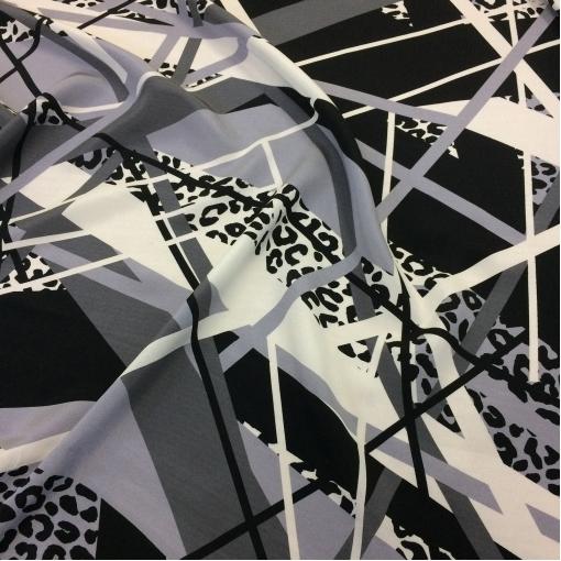 Шелк креповый принт Armani серо-черная геометрия
