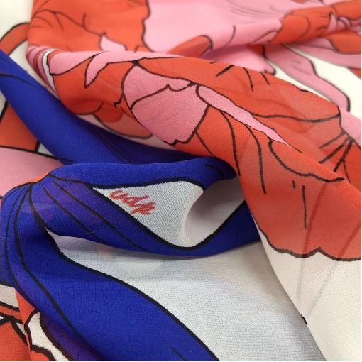Шелк креповый полупрозрачный принт VDP крупные цветы в сине-красных тонах