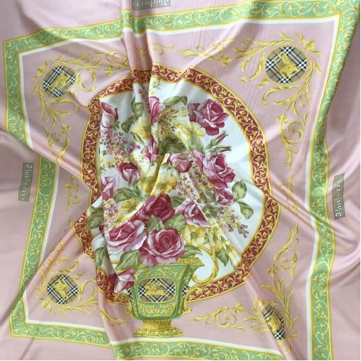 Шелк твил дизайн Burberry платки в розово-салатных тонах