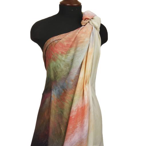 Блузочно-плательная шерсть купон из акварельных оранжево-зеленых мазков