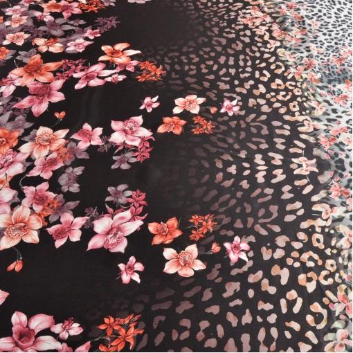 Шелк атласный купон принт леопард с цветами