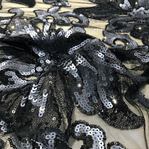 Кружево на сетке дизайн Elie Saab вышивка пайетками в черно-синих тонах