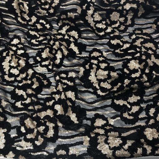 Кружево на сетке стрейч дизайн Elie Saab вышивка с золотистыми пайетками
