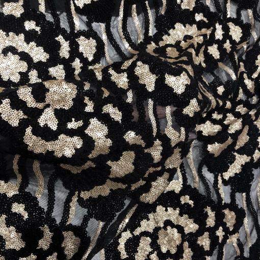Кружево на сетке дизайн Elie Saab вышивка с золотистыми пайетками