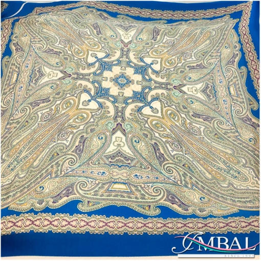 Шелк атласный тонкий принт ETRO платки 140х140 огурцы на ярко-синем