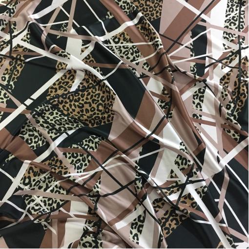 Шелк атласный стрейч принт Ferragamo леопард и геометрия в коричнево-черной гамме
