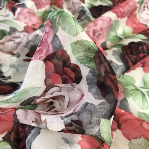 Шелк шифон принт Emanuel Ungaro розы и пионы в клубничных тонах