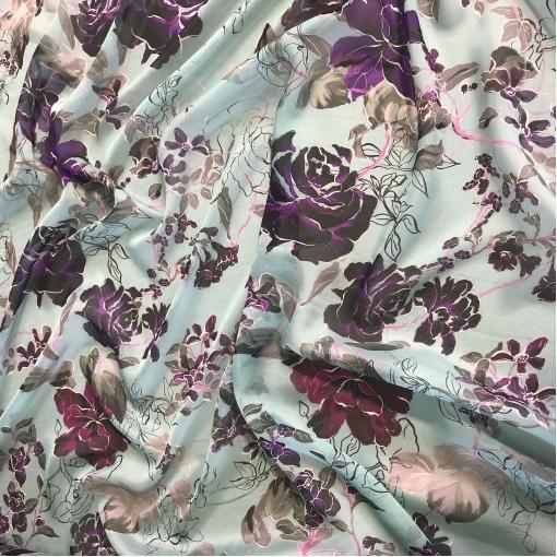 Шелк шифон принт Emanuel Ungaro розы на нежно-голубом фоне