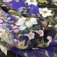 Шелк шифон стрейч принт ETRO огурцы и цветы в сине-черной гамме