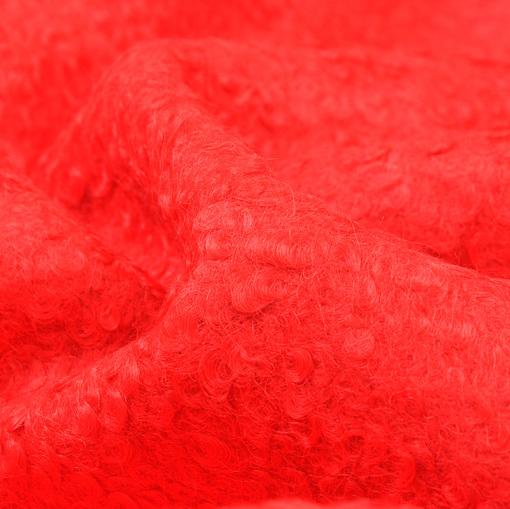 Пальтовая ткань красного цвета с кудрявым ворсом