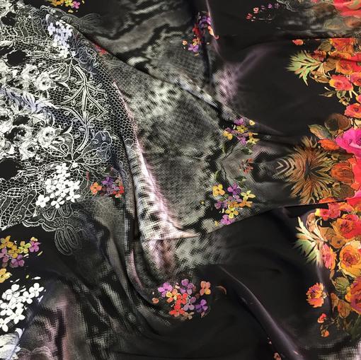 Шелк атлас стрейч абстрактный купон Elisa Fanti