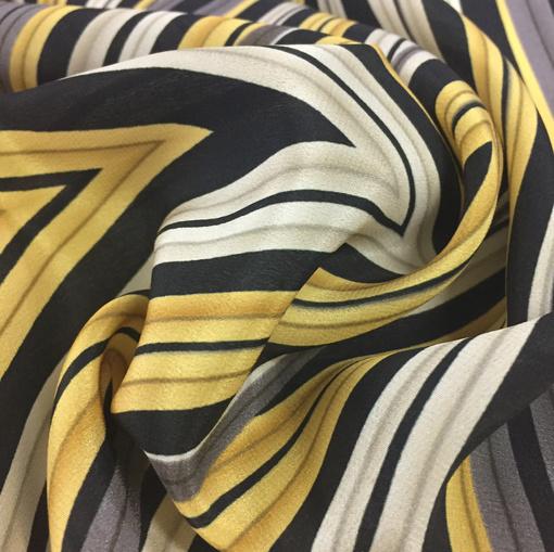 Шелк плательный принт Armani  купон желто-серые полосы