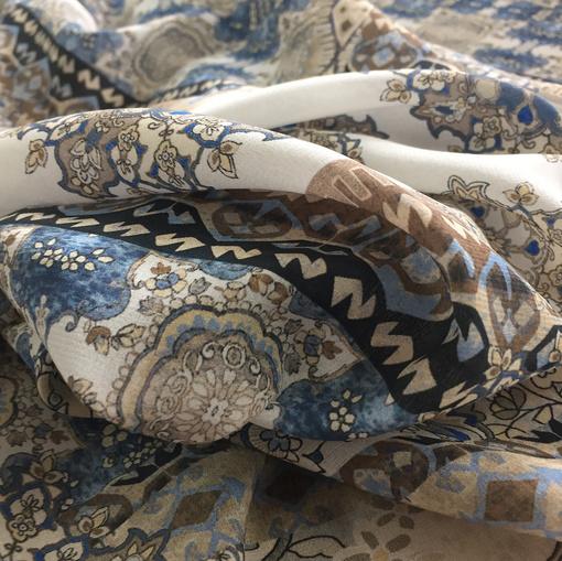 Шелк креп принт ETRO узоры и цветы в сине-бежевой гамме