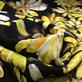 Шелк креповый жаккард принт желтые хризантемы