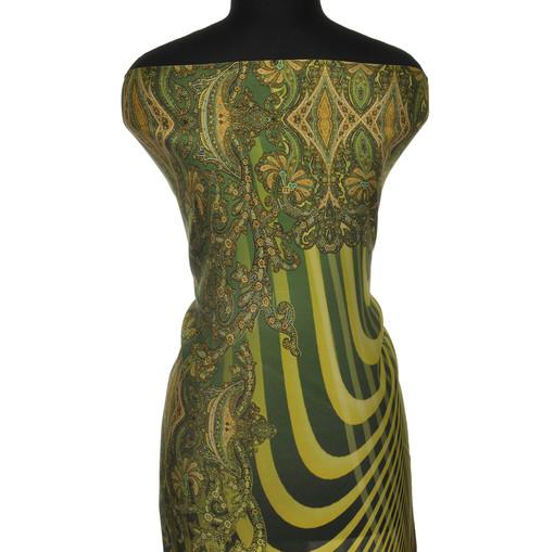Шелк креповый с зелено-желтыми орнаментом