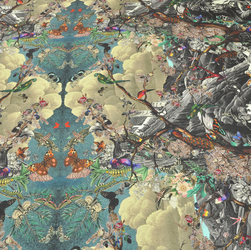 Шелковый купон с принтом рыцарей, тигров, птиц и пейзажа
