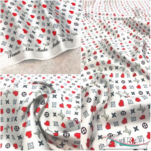 Хлопок репс принт Louis Vuitton сердца на молочном фоне