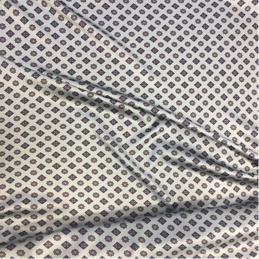 Шелк креповый стрейч принт Prada мелкая геометрия на сером фоне