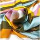 Шелк твил мягкий принт Oscar de la Renta яркие широкие полосы