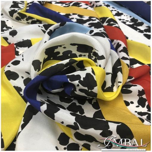 Шелк матовый дизайн Armani радужные полосы и черно-белый леопард