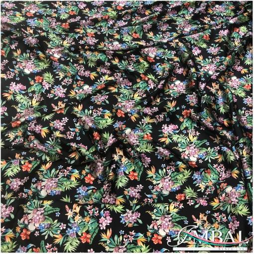 Шелк атласный принт Blumarine тропические цветы на чёрном фоне