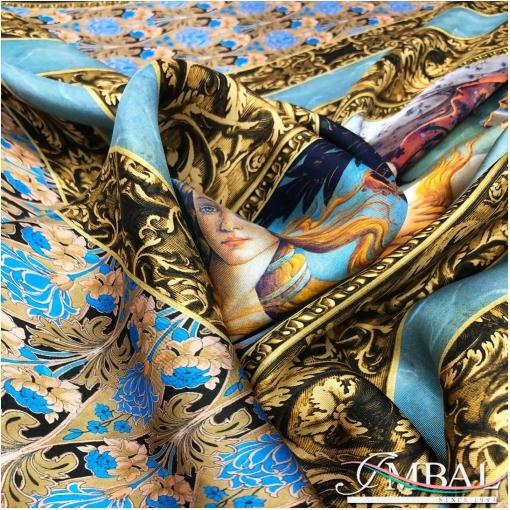 Шелк твил мягкий платок 140х140 см принт с Афродитой Ботичелли