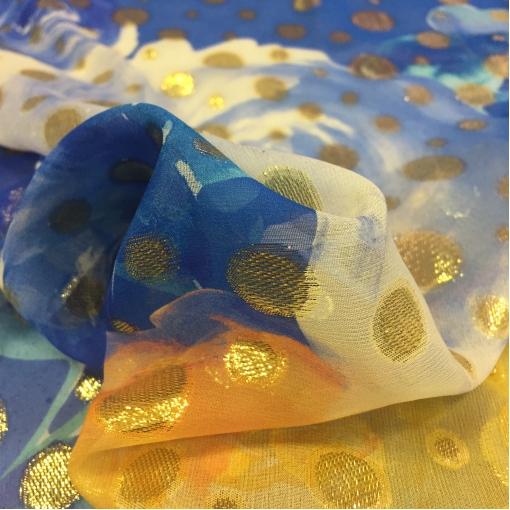Шелк креповый принт Gai Mattiolo желто-синие горохи с люрексом
