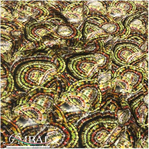 Шелк креповый принт Chanel геометрия в зелено-горчичных тонах