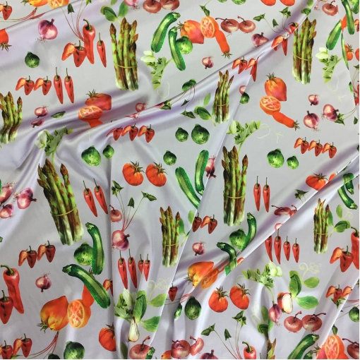 Шелк атласный стрейч принт D&G овощной принт на нежно-сиреневом фоне